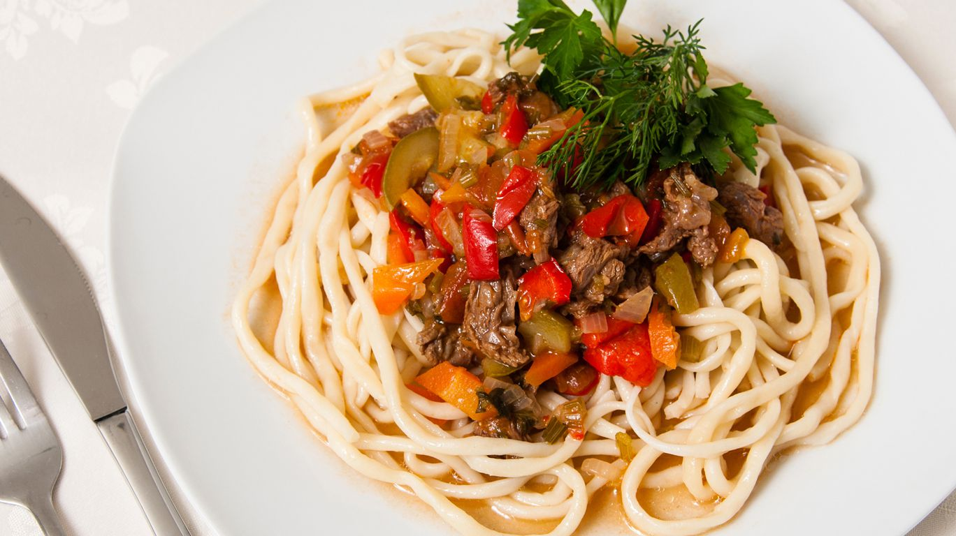 Лагман из спагетти